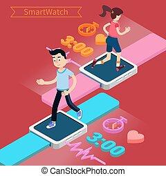begrepp, ur, spring, kvinna, teknologi, smart, man