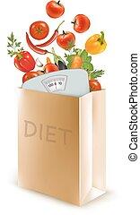begrepp, vegetables., kost, väska, papper, väga, vector., kost
