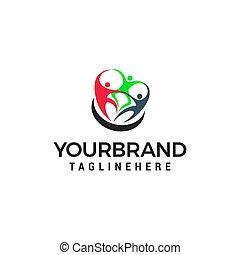 begrepp, vektor, design, mall, logo, teamwork