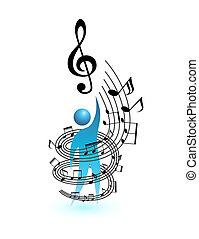 begrepp, vektor, musik, folk