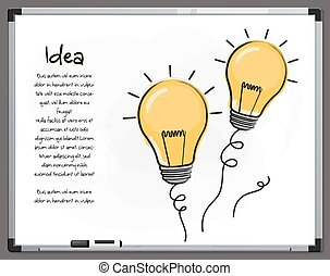 begrepp, whiteboard., ikonen, lätt, hand, idea., vector., undertecknar, oavgjord, lök