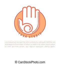 begrepp, yoga, utrymme, text., design, mall, avskrift