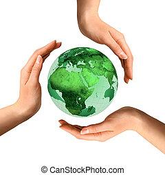 begreppsmässig, återvinnande symbol, över, värld glob