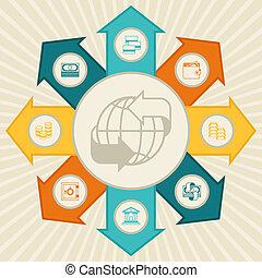 begreppsmässig, bankrörelse, infographic., affär