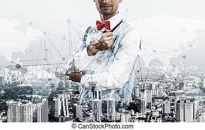begreppsmässig, framgångsrik, avbild, businessman.