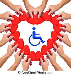 begreppsmässig, handikappat, person., kärlek, avbild