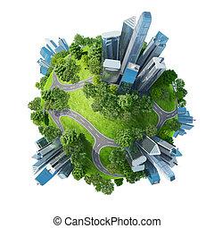 begreppsmässig, mini, planet, grön, parkerar