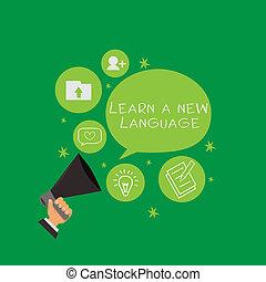 begreppsmässig, skriva lämna, visande, erfara, a, färsk, language., affär, foto, text, studera, ord, annat, än, den, inföding, mor, tunga