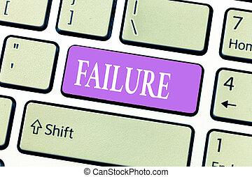 begreppsmässig, skriva lämna, visande, failure., affär, foto, showcasing, försumma, eller, omission, expected, nödvändig, handling, brist, av, framgång