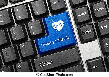 begreppsmässig, tangentbord, -, frisk livsstil, (blue, key)