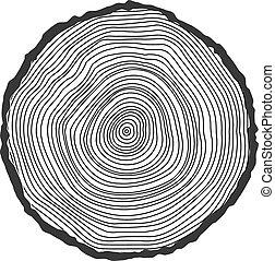 begreppsmässig, tree-rings., bakgrund, vektor
