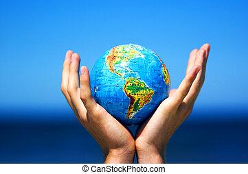 begreppsmässig, värld glob, avbild, hands.