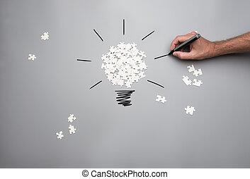 begreppsmässig, vision, avbild, idé, affär