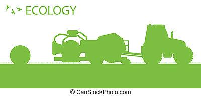 begriff, ökologie, organische , plakat, heu, vektor, hintergrund, machen, landwirtschaft, ballen, traktor