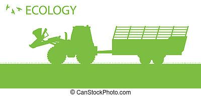 begriff, ökologie, organische , vektor, hintergrund, landwirtschaft, traktor