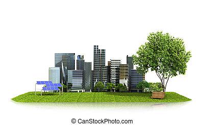 begriff, ökologie, von, der, city., stadt, auf, grünes gras, sonnenkollektoren, ausschüsse, bei, der, park, und, der, city., 3d, abbildung
