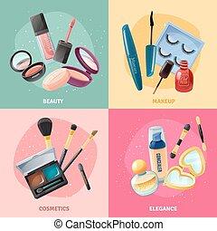 begriff abbilder, aufmachung, quadrat, 4, kosmetikartikel