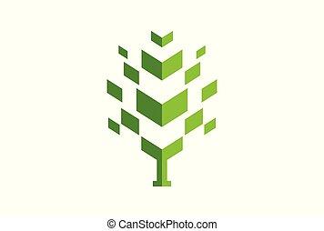 begriff, abstrakt, baum, vektor, grün, logo, ikone