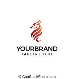 begriff, abstrakt, feuerdrachen, vektor, design, schablone, logo