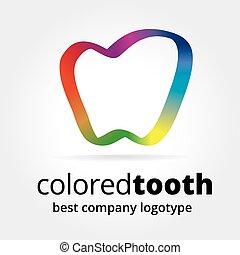 begriff, abstrakt, freigestellt, logotype, vektor, hintergrund, weißer zahn