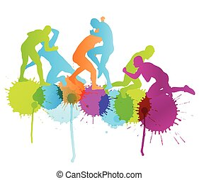 begriff, abstrakt, maenner, ringen, römisches , abbildung, griechischer , silhouetten, vektor, hintergrund, aktive, sport