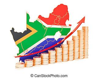 begriff, afrikas, übertragung, wirtschaftliches wachstum, süden, 3d