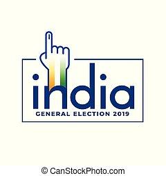 begriff, allgemein, indische , design, wahl, 2019, abstimmung