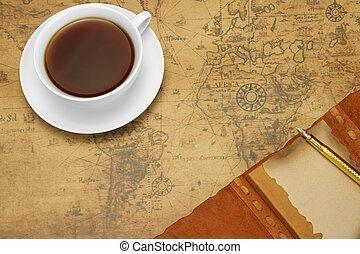 begriff, altes , reise, map., anordnung, abenteuer, oder