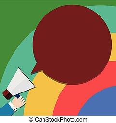 begriff, anzeige, farbe, text, design, leer, kopieren platz, freigestellt, vortrag halten , schablone, megaphon, blase, leerer , website, besitz, geschaeftswelt, hu, hand, analyse, vektor, runder