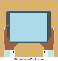 begriff, anzeige, text, design, leer, einheit, kopie, tablette, raum, freigestellt, schablone, leerer , website, smartphone, besitz, geschaeftswelt, schirm, hu, hand, analyse, vektor, textanzeige