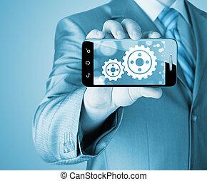 begriff, ausrüstung, erfolg, weisen, smartphone, geschäftsmann