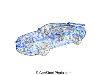 begriff, auto, modern, projekt, modell, 3d