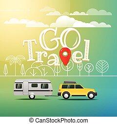 begriff, auto, reise, modern, urlaub, way., gehen, logo.