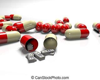 begriff, banknoten, bezahlt, übertragung, tabletten, medizinprodukt, teuer, 3d