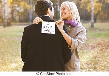 begriff, beziehungen, liebe, verlobung , -, wedding, mann,...