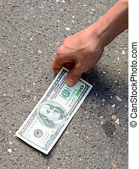 begriff, boden, geld, -, hand, straße, befund, pflückend