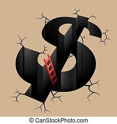 begriff, brown., krise, hintergrund, finanziell, design
