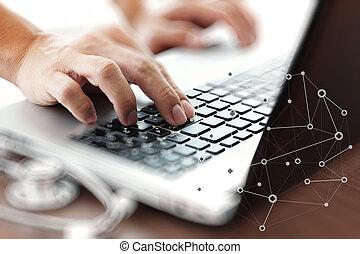 begriff, buero, arbeitende , doktor, medien, laptop,...