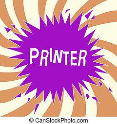 begriff, buero, text, printer., gebraucht, ausrüstung, bedeutung, edv, vorrichtung, sachen, druck, handschrift, gemacht