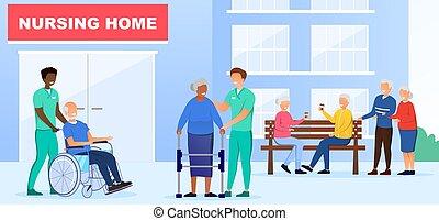 begriff, daheim, krankenpflege