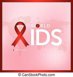 begriff, dezember, abbildung, 1, vektor, design, aids, welt, tag