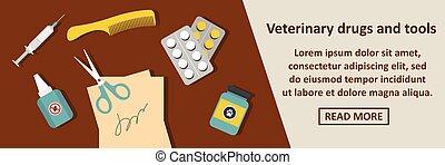 begriff, drogen, banner, veterinär, horizontal, werkzeuge
