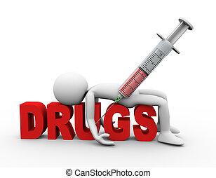 begriff, drogen, betäubungsmittel, spritze, mann, 3d