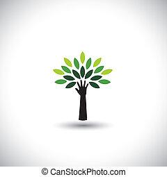 begriff, &, eco, -, blätter, baum, hand, vektor, grün, menschliche , ikone
