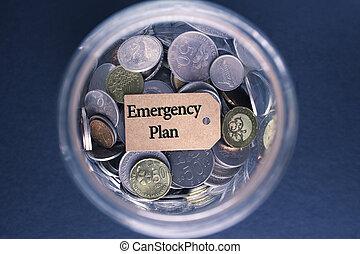 begriff, einsparung, notfall, geldmünzen, etikett, glas, plan, :