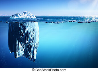 begriff, eisberg, -, global, erscheinen, meer, schwimmend,...