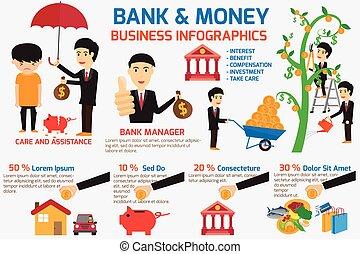 begriff, element., illustration., geschaeftswelt, geld, unterstützung, business., vektor, nehmen, infographics, dein, bank, sorgfalt