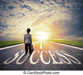 begriff, erfolg, erfolgreich, firma, start, junger, way., spaziergänge, geschäftsmann, mann
