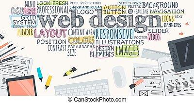 begriff, für, netz- design