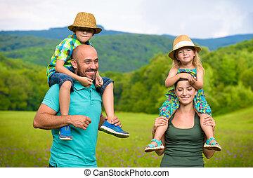 begriff, familie, geben, reiten, huckepack, eltern, zeit, kinder, glücklich